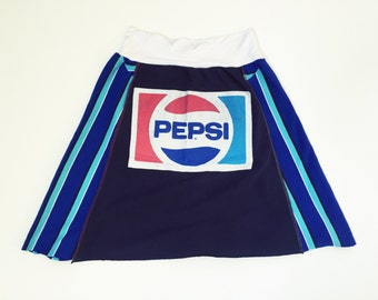 Women's upcycled Pepsi tshirt skirt A-line yoga waistband size small/medium one of a kind
