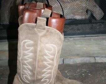 Vtg Suede Cowboy Boots 8M