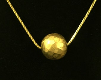 """Gold Tone Faceted Ball 18"""" Necklace"""