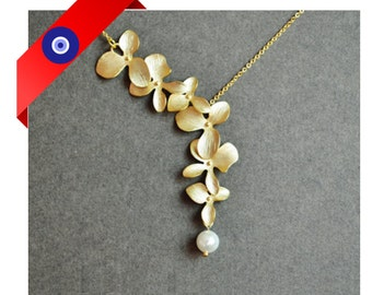 Orchid Necklace - Pearl Necklace - Bridesmaid gift