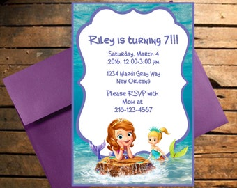 Downloadable Sofia The 1st Themed Birthday Invitation