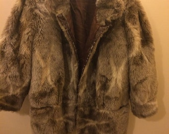 VINTAGE GREY faux fur winter coat UK 8-12 medium size