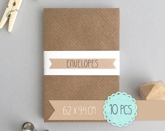 Envelope mini / kraft brown / 6,2 x 9,4 cm / 10 pieces / business card envelope / gift card envelope
