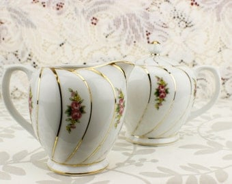 Vintage Creamer and Sugar with Gold Trim