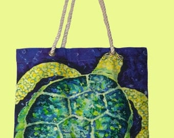 Sale for Limited time & FREE SHIPPING! Large Sea Turtle Canvas Bag
