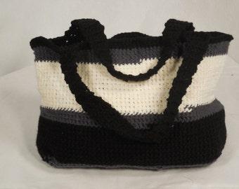 Handbag Black, cream, and grey