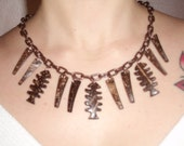 Wild Tropical Brown Tiki set of fishbones earring and matching necklace 1940s 1950s wood repro by Lucite Itch