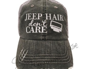 Jeep Hair Don't Care Trucker Hat - White Jeep Grill (Choose Your Own Jeep Grill Color)