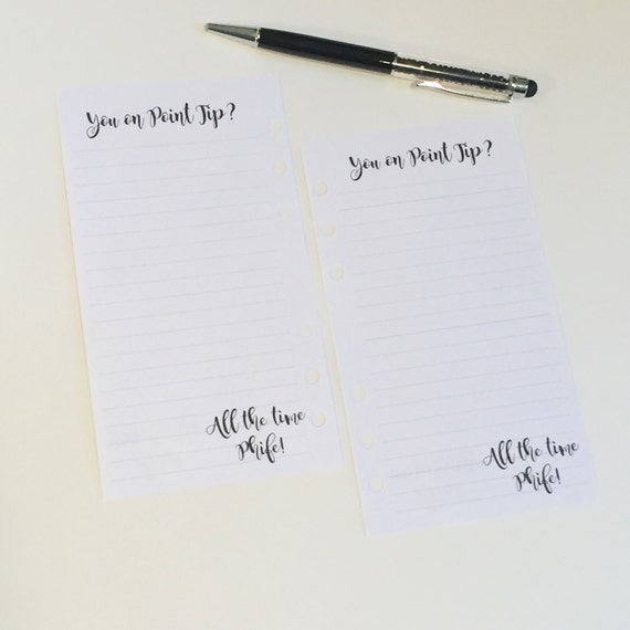 Custom Notes - Top and bottom Customization - Planner Inserts for Filofax & Kikki K - Personal and Half Letter Size