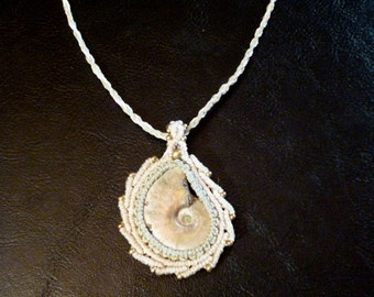 Beautiful rare white Ammonite macramé necklace