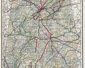 1888 Map of Alabama