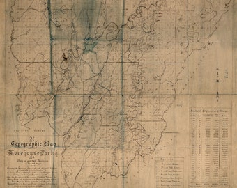 1896 Map of Morehouse Parish (County) Louisiana Bastrop