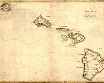 1837 Map of the Hawaiian Islands