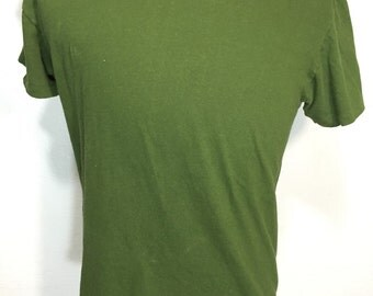 70's vintage 100% cotton blank t shirt green size large