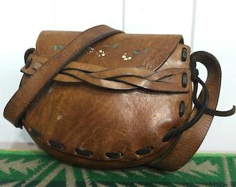 70's vintage handmade leather pouche shoulder bag floral