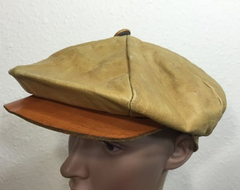 60's vintage leather newsboy cap made in usa size 7 1/4〜7 3/8