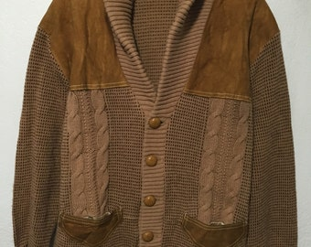 70's vintage shawl collar crdigan wool leather suede brown