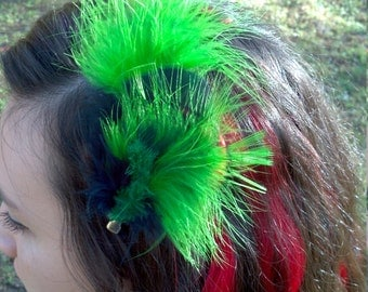 neon green and black earrings and hair piece set