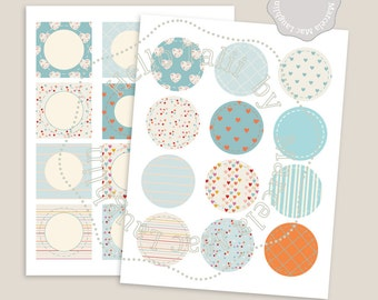 Baby Shower BOY CUPCAKE TOPPERS- Confetti and Hearts in baby blue- 12 round & 12 square labels 2 inch circles collage sheet digital stickers