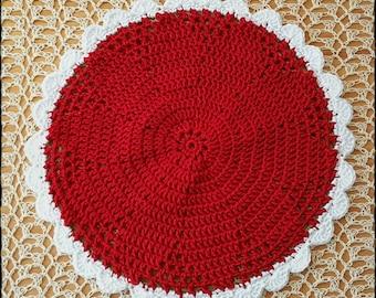 Crochet Pot Holder -Flower pattern Red/White