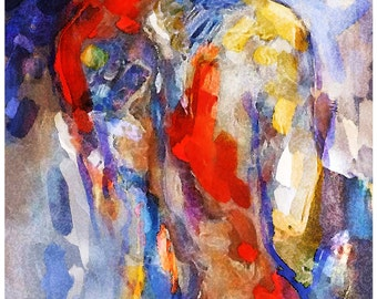 The Nude Lady in Red & Blue