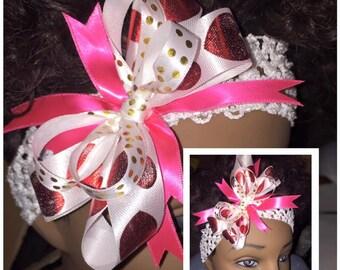 Pink and Hearts Headband