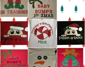 Personalized Christmas maternity shirts
