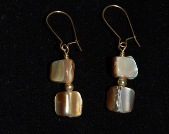 Mother of Pearl Beads with Gold Earrings