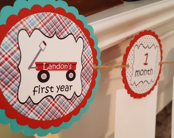 Little Red Wagon aqua and red first year monthly photo banner * baby's first year * radio flyer * little red wagon * aqua and red banner