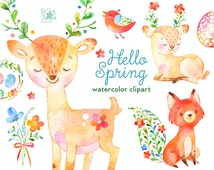 Hello Spring. Watercolor animals and floral clipart, deer, fox, flowers, bird, eggs, easter, greeting, invite, antlers, heart, wreath, diy