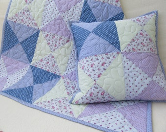 Baby quilt + pillow, quilt, girl quilt + pillow