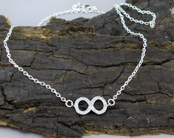 Necklace Collier infinity infinity sparkling glass crystals silver