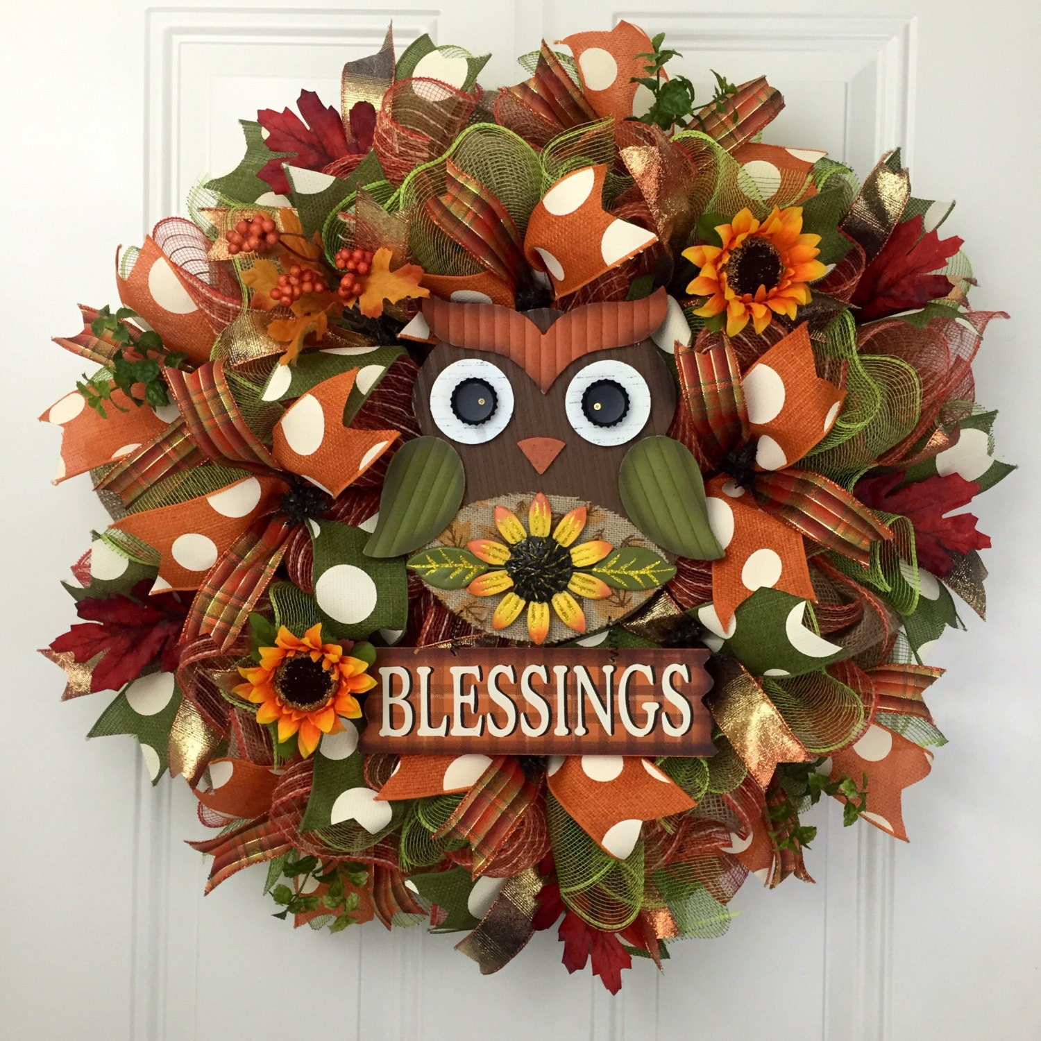 Fall Deco Mesh Wreath Owl Wreath Owl Fall Wreath Fall
