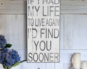 If I Had My Life To LIve Again Sign, Christmas Gift Idea, Birthday Gift, Rustic Farm sign, Vintage Inspired Handmade Signs
