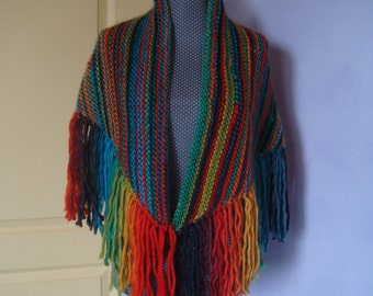 Shawl Heater shoulder multicolored wool with big fringes - Gypsy , Hippie
