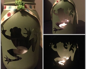 Frog Mason Jar Tea Light Candle Holder,frog,toad