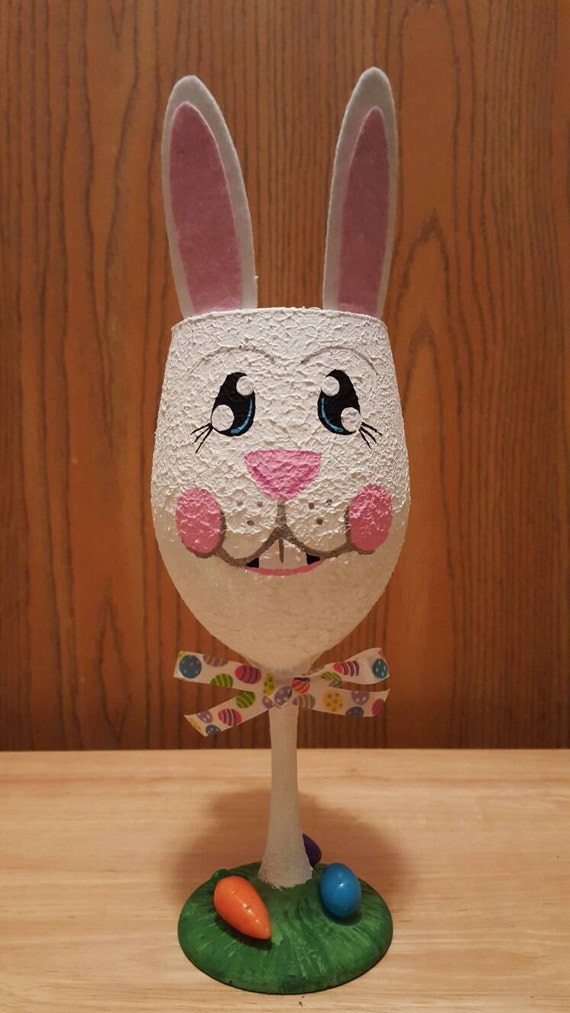 handpainted easter bunny wine glass candle by handpaintedbyheather. Black Bedroom Furniture Sets. Home Design Ideas