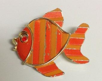 Vintage Goldfish Brooch   Goldfish Brooch   Fish Brooch   Vintage Brooch   Rhinestone Fish Brooch