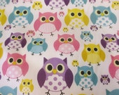 Cute Multicolour Owls, Owl Bird Printed Polycotton Fabric. Price Per Metre.