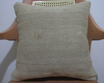 Pure Wool Vintage Turkish Kilim Pillow Cover 16 x 16 Handmade Natural organic Pillow Home Decor Bedding Pillow Kilim Pillow