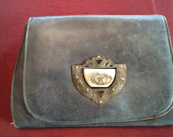 Vintage 1920s Womens Leather Clutch Purse Midnight Blue