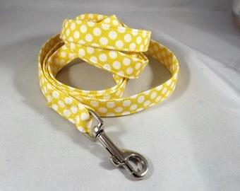 Polka Dot Dog Leash, Yellow Dog Lead, 4 feet or 6 feet leash length, Custom dog leash, choose fabric,  optional matching collar