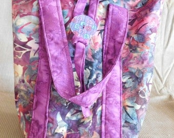 Purple batik insulated lunch bag