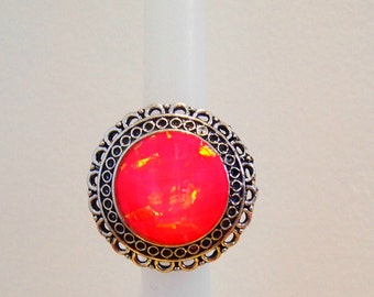Handmade Bohemian Ring: PINK FOIL STONE
