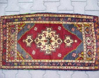 1'9''x3'4'' / 58x104cm Decorative Small Rug, Door Mat Rug, Entrance Wool Rug, Floor Mat Rug, Bohemian Mat Rug,