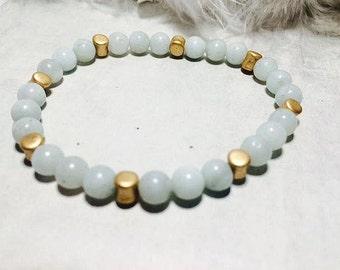 Blue Pearl amazonite wristband