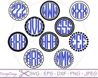 Circle Monogram Frame for cutting machines, SVG files for Cricut, EPS Vector files, PNG,  cut files, svg monogram frame
