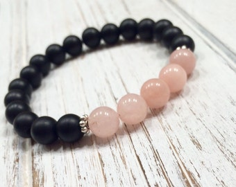Onyx and pink quartz bracelet,pink jade bracelet,jade bracelet,boho bracelet,mala bracelet,yoga bracelet,mala jasper bracelet,