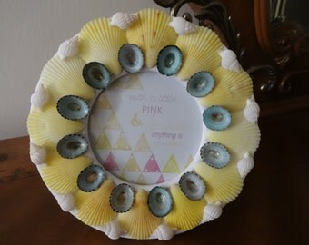 Seashell picture frame, round picture frame, limpet picture frame, shell frame