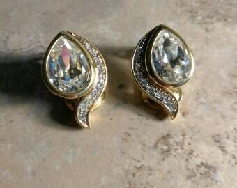 Teardrop Crystal and Rhinestone Gold Tone Vintage Clip On Earrings